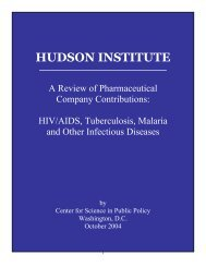A Review of Pharmaceutical Company Contributions - Hudson Institute