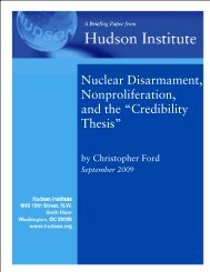 Nuclear Disarmament, Nonproliferation, and the ... - Hudson Institute