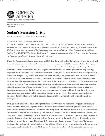 Sudan's Secession Crisis - Hudson Institute