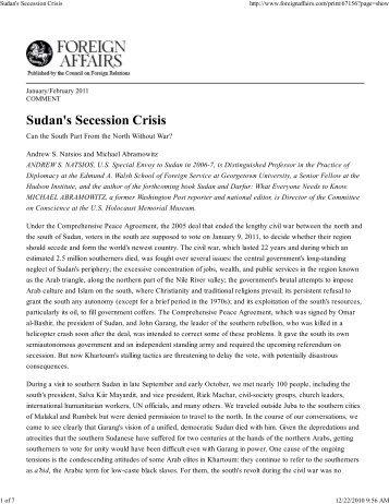Sudan's Secession Crisis - Hudson Institute