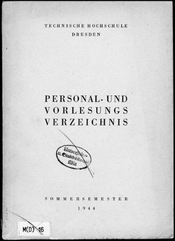 Personal- und Vorlesungsverzeichnis Sommersemester 1944