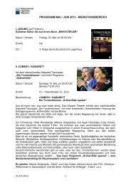 PROGRAMM MAI / JUNI 2013 - MIGRATIONSBEREICH - Bremen
