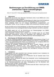 Bestimmungen für Lizenzlehrgänge Rennen - DMSB
