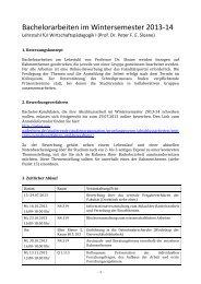 Bachelorarbeiten im Wintersemester 2013-‐14 - WiWi