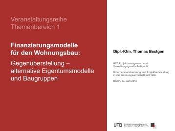 Veranstaltungsreihe Themenbereich 1 Finanzierungsmodelle für ...