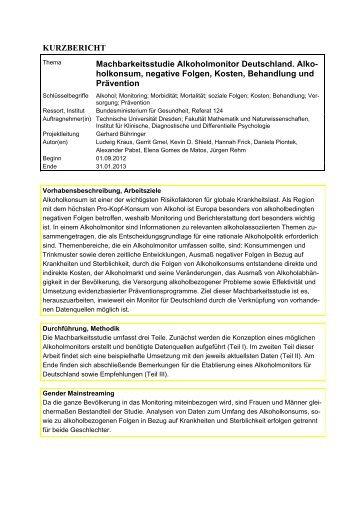 KURZBERICHT Machbarkeitsstudie Alkoholmonitor Deutschland. Alko