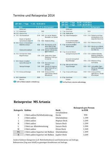 Termine und Reisepreise 2014 Reisepreise MS Artania - GEW