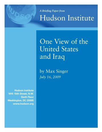 One View of the United States and Iraq.pdf - Hudson Institute