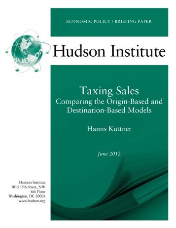 Taxing Sales - Hudson Institute