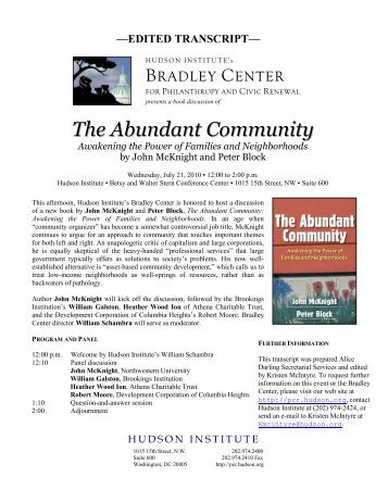 The Abundant Community - Hudson Institute