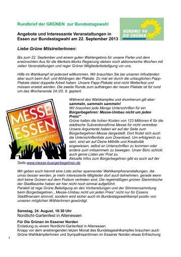 Rundbrief der GRÜNEN zur Bundestagswahl Angebote und ...