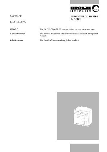 EUROCONTROL M / SGB 2 für SGB 2 MONTAGE EINSTELLUNG