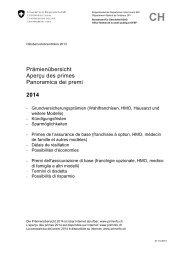 Aperçu des primes 2014 - Comparis.ch