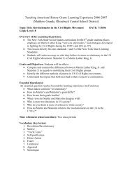Teaching American History Grant: Learning Experience 2006