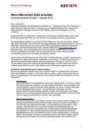 Insolvenzstatistik Private Erstes Quartal 2013 - KSV