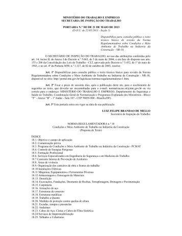 Portaria n.º 383, 21 de maio de 2013 - Ministério do Trabalho e ...