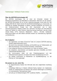 Testmanager / Software Tester (m/w) - ADITION technologies AG