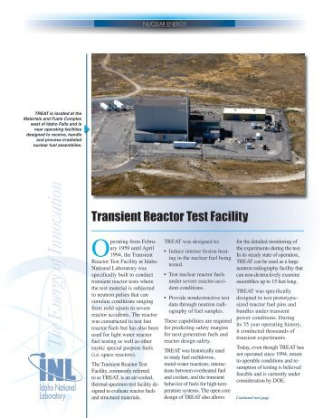 Transient Reactor Test Facility (TREAT) - U.S. Department of Energy