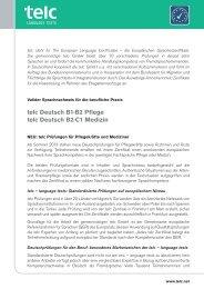 telc Deutsch B1·B2 Pflege telc Deutsch B2·C1 Medizin