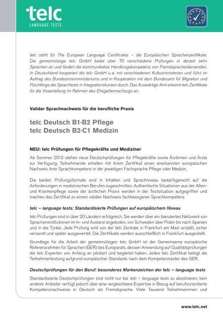 Telc Deutsch B1b2 Pflege Telc Deutsch B2c1 Medizin