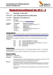Maskottchenwettkampf der AK 5 – 9 - Badischer Turner Bund
