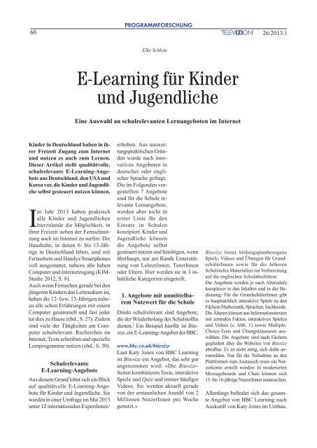 E-Learning für Kinder und Jugendliche