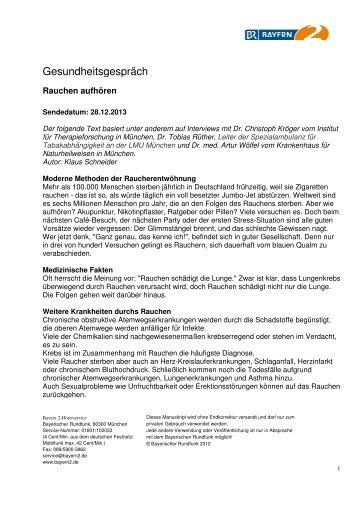 Endlich Rauchfrei! - Gesundheitsgespräch - Bayern 2 - 28.12.2013