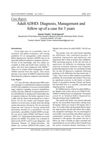 Adult ADHD: Diagnosis, Management and follow up of a ... - medIND