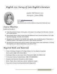 English 253: Survey of Late English Literature - TeacherWeb