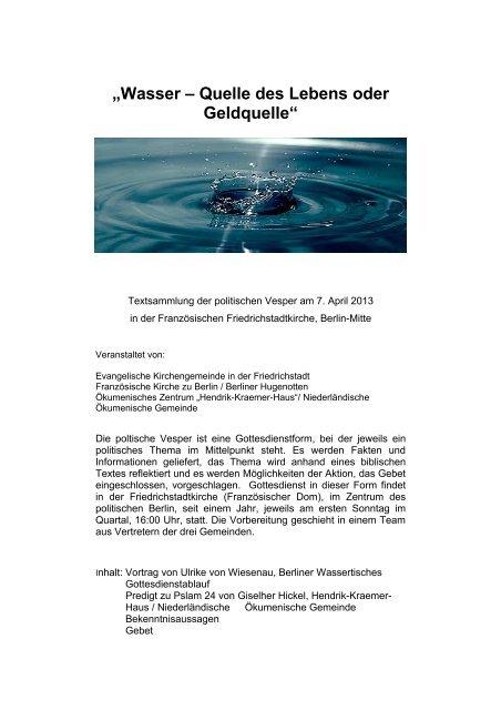 """""""Wasser – Quelle des Lebens oder Geldquelle"""" - Hendrik-Kraemer ..."""