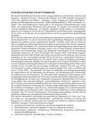 Integrativer Deutschunterricht - Online-Didaktik Deutsch