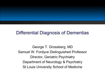 Differential Diagnosis of Dementias - Alzheimer's Association