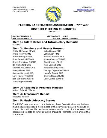 77th year DISTRICT MEETING #3 MINUTES Item 1 - Florida Music ...