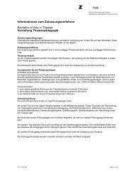 Informationen zum Zulassungsverfahren Theaterpädagogik
