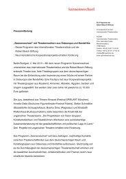 """Pressemitteilung """"Szenenwechsel"""" mit Theatermachern aus ..."""