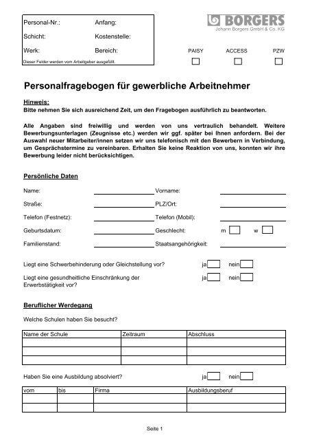 Personalfragebogen Für Gewerbliche Arbeitnehmer Borgers