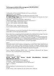 Semesterhandbuch Kulturmanagement Wintersemester 2013/14