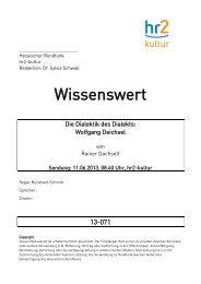 Manuskript - Hessischer Rundfunk