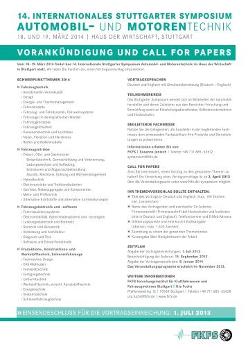 Call for Papers - FKFS