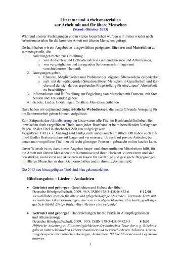 Literatur und Arbeitsmaterialien zur Arbeit mit und für ältere ...