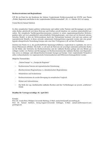 Den Calls for Papers zur kommenden Sektionstagung in Leipzig ...