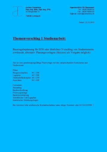 Themenvorschlag Studienarbeit: - DHBW Mosbach