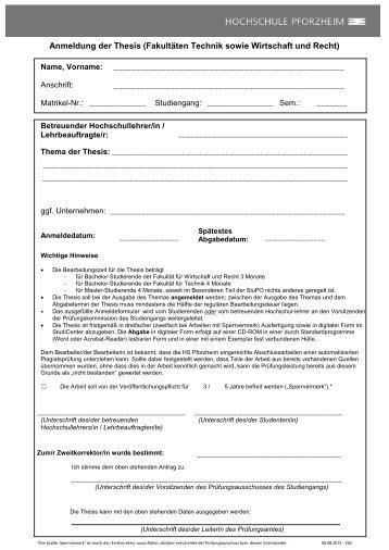 hochschule pforzheim anmeldung thesis