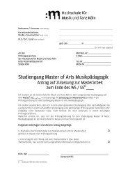 Zulassungsunterlagen Masterarbeit - Hochschule für Musik und ...