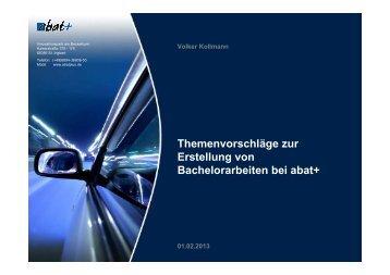 Themenvorschläge zur Erstellung von Bachelorarbeiten bei abat+