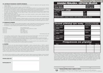 ZÁVAZNÁ PŘIHLÁŠKA / CESTOVNÍ SMLOUVA - Hu-Fa Dental