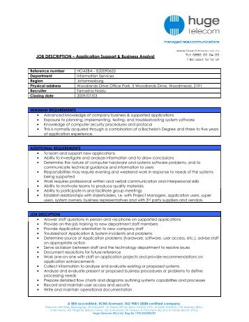 Job Description For Application Support | Template