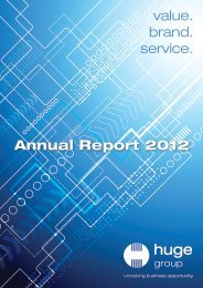 value. brand. service. Annual Report 2012 - Huge Group