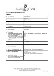 Anti-Money Laundering Questionnaire I. Basics - Bank Melli Iran