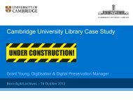 overview of work at Cambridge University Library - Hull History Centre